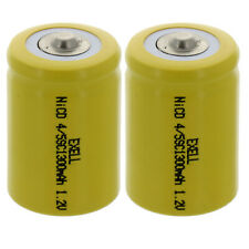 2x Exell 4/5 SubC 1.2V 1200mAh NiCd Button Top Rechargeable Batteries Usa Ship