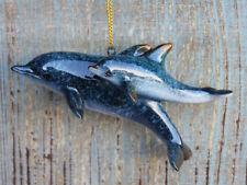 "Beautiful Resin Mom & Baby Dolphin Ornament ~4.25"" ~Nautical Christmas Decor ~"