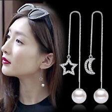 925 Sterling Silver Star Moon Pearl Ear Drop Line Tassel Earrings For Women Gift