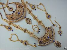 INDIAN BRIDAL BOLLYWOOD STYLE 8 PIECE ALLOY JEWELLERY SET BLUE CLEAR NEW AQ-129