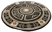 Black & Gold Medallion Design 8' Diameter Round Area Rug