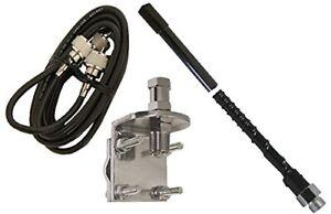 ProComm HSS995-3B 3' Single Black Fiberglass CB Radio Antenna Kit w/Mirror Mount