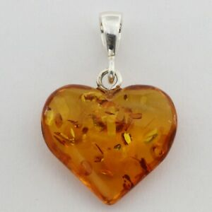 Hand crafted Cognac / Brown BALTIC AMBER Heart Pendant 925 STERLING SILVER #4530