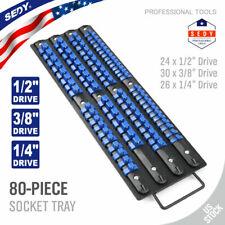 "Blue Large 80 Socket Tray Rack Storage Rail Holder Shallow Deep 1/2"" 3/8"" 1/4"""