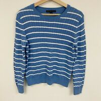 346 brooks brothers striped white blue cable knit cotton sweater Sz L large