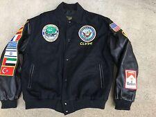 Vtg Tuareg USS Dwight Eisenhower Souvenir Letterman Men's Jacket Coat Size Large