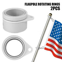 2PCs Aluminum Flag Pole Flagpole Rotating Rings Clip Grommet Mounting Anti Wrap