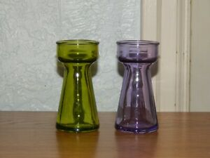 2 Vintage Crocus Bulb Forcing Starter Vases, Green & Purple Glass Product of EEC