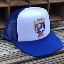 Old Style Beer Vintage 80's Style Trucker Hat Mesh Snapback Royal Blue Logo Cap