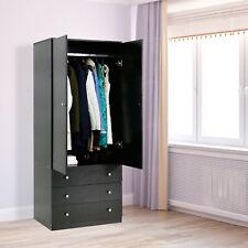 Wooden Armoire Wardrobe Storage Cabinet Closet Drawers Furniture Black