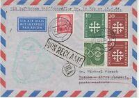 """BUNDESREPUBLIK 1956 Erstflug Deutsche Lufthansa """"HAMBURG – BUENOS AIRES"""""""