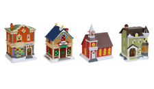 4 Christmas Winter Village Miniature Buildings Church Stores House FREE SHIPPING