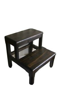 Step Stool Hand Crafted Dark Stain Solid Wood Alder
