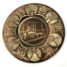 Vtg Plate Handmade Etched Copper Sultan Ahmet Mosque Wall Hanging Turkey Floral