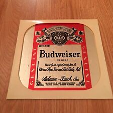 "BUDWEISER Beer Sign Mirror Man Cave Vintage Retro 12"" X 12"""