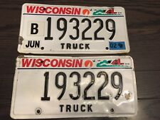 SET PAIR of (2)  WISCONSIN WIS WI TRUCK License Plate Plates White Black 193229