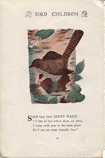 Elizabeth Gordon's Bird Children: Wren. M.T.Ross 1912 lithograph print