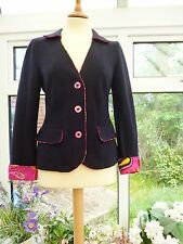 STUNNING *GEIGER* AUSTRIA LANDHAUS BLUE BOILED WOOL PINK TRIMMED JACKET 36 UK 10