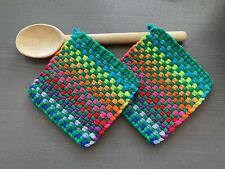 Handmade Rainbow Potholders Set 2 Woven Cotton Colorful Loom Loop Christmas Gift