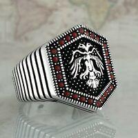 Solide 925 Sterling Silber Rot Achat Edelstein Männer Ring Handgefertigt Türkei