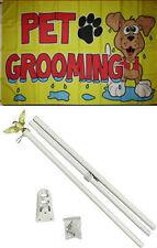 3x5 Advertising Pet Grooming Yellow Flag White Pole Kit Set 3'x5'