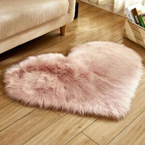 Carpet Floor Mat Rug Soft Plush Fur Fluffy Home Living Room Bedroom Heart Shape