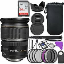 Canon EF-S 17-55mm f/2.8 IS USM Lens Bundle with Accessory Kit (17 items)