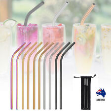 10x Stainless Steel Drinking Straw Bent Metal Straws 2 Brushes Reusable Washable