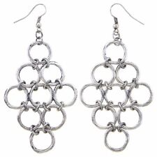 NEW Oxidized Silvertone Linked Ring Chainmaille Chandelier Dangle Earrings