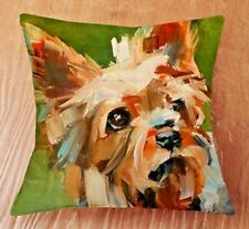 YORKIE Yorkshire Terrier OIL Painting ART DOG LINEN-COTTON CUSHION COVER,GB Sale
