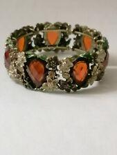 Ladies Fantasy Forest Antique Style Fashion Bracelet ~ Orange Gems ~ Open Clasp