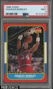 1986 Fleer Basketball #7 Charles Barkley 76ers RC Rookie HOF PSA 9 MINT