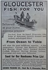 """1904 AD(G10)~CROWN PACKING CO. GLOUCESTER, MASS. FROM """"OCEAN TO TABLE"""" FISH"""