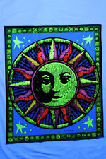 "Sun Moon Stars Blacklight reactive tapestry // fabric poster - 23"" x 28"" //"