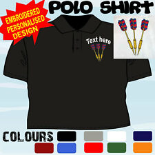 PERSONALISED EMBROIDERED DARTS DESIGN TEAM PLAYER CLUB T POLO SHIRT