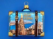 NEW YORK CITY VACATION SUITCASE LUGGAGE TRUNK EUROPEAN GLASS CHRISTMAS ORNAMENT
