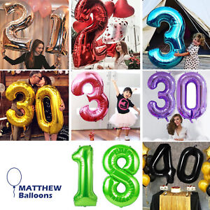 Number Birthday Balloons 40 Inch XXL Helium or Air Party Wedding 1234567890 UK