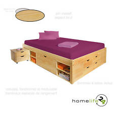 Lit double multi-fonction adulte 2 places 160 x 200 multi-rangement naturel p...