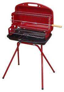 Barbecue a carbonella portatile / richiudibile in metallo 6 coperti Rosso / Nero