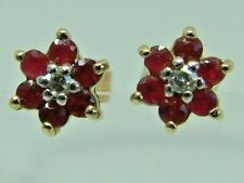 NEAT SMALL FLOWER RUBIES DIAMONDS CLUSTER STUD EARRINGS - 9CT YELLOW GOLD