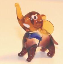 Amber Elephant East Germany Glass Figurine Delicate Miniature Tiny
