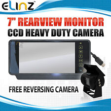 "7"" Rearview Mirror Monitor 12V 24V Reversing CCD Camera Kit 4PIN Car Caravan"