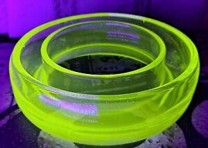 Vintage Art Deco Uranium Green Vaseline Glass Posy Ring  Flower Display Vase