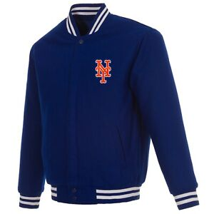 MLB New York Mets JH Design Wool Reversible Jacket With 2 Embroided Patches Logo