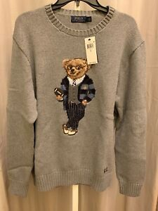 NWT - $398 Polo Ralph Lauren Polo Preppy Football Bear Sweater In Gray Size L