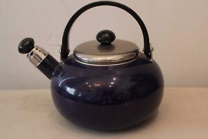 COPCO Blue Enamel Metal Whistling Teapot L#1544