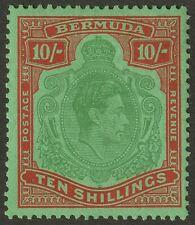 Bermuda 1951 KGVI 10sh Green and Vermilion on Green p13 Mint SG119e cat £40
