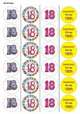 24X PRECUT 18TH BIRTHDAY, EDIBLE WAFER PAPER, CUPCAKE, CAKE TOPPERS 1120