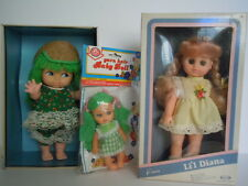 """Rare Lot 3 Uneeda Big Eyes Doll """"L'Il Agatha""""+ Her Mini Sister+ """"L'Il Diana""""Doll"""