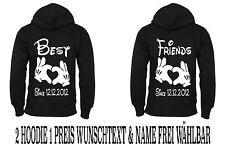 Hoodie Pullover Best Friends Druck 2 Stk Partner Look Viele Farben XS - 5XL